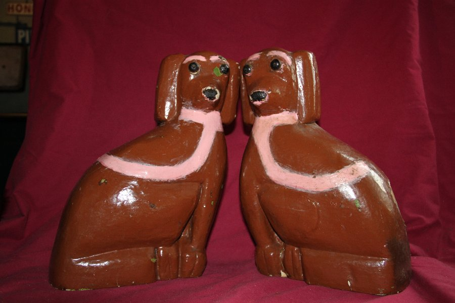 Pair of Folk art dogs
