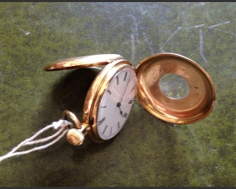 Antique 18ct Gold Ladies Half Hunter Pocket Watch