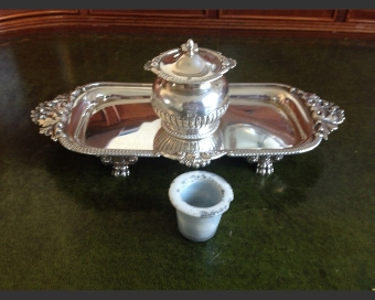 Antique 1895 Silver Inkstand
