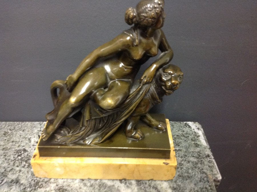 19th century bronze of Ariadne riding a panther