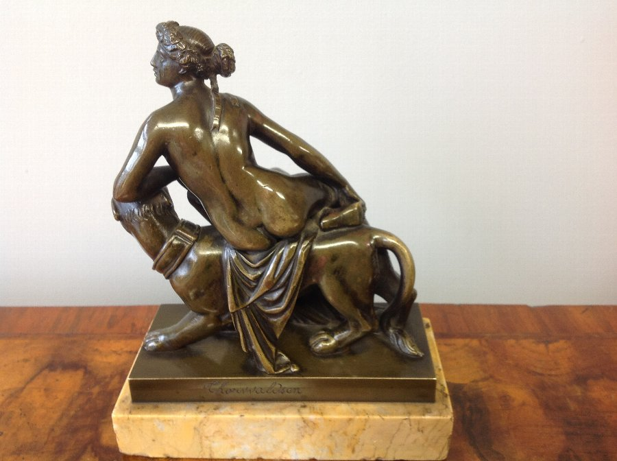 Antique 19th century bronze of Ariadne riding a panther