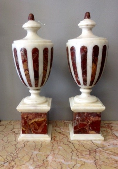 19th cent Pair of Marble table urns