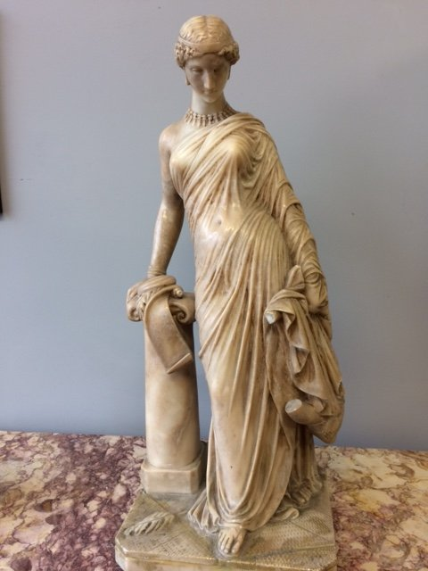 19th century  neoclassical marble statue of a goddess