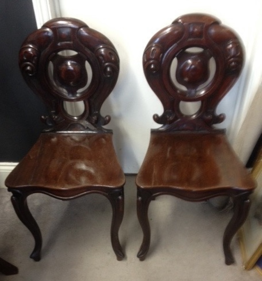 Antique 19thcentury Mahogany Hall chairs