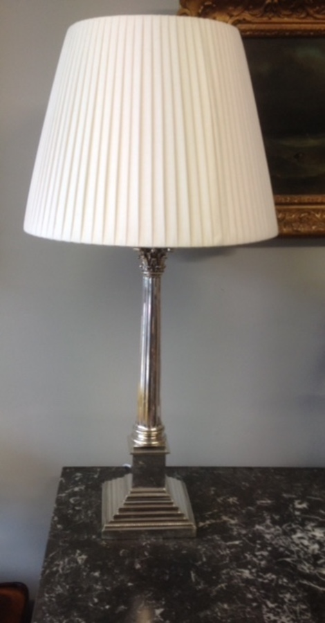 Antique Silver plated table lamp