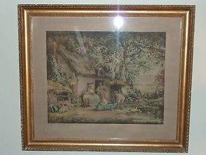 Hand coloured engraving of G Morland The Happy Cottagers