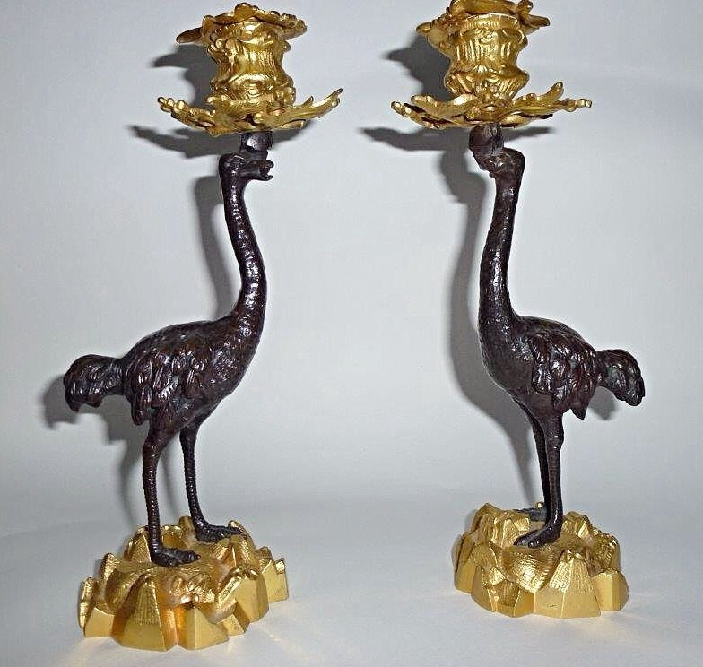 Fine Pair of 19th century Bronze & Ormolu Ostrich Candlesticks