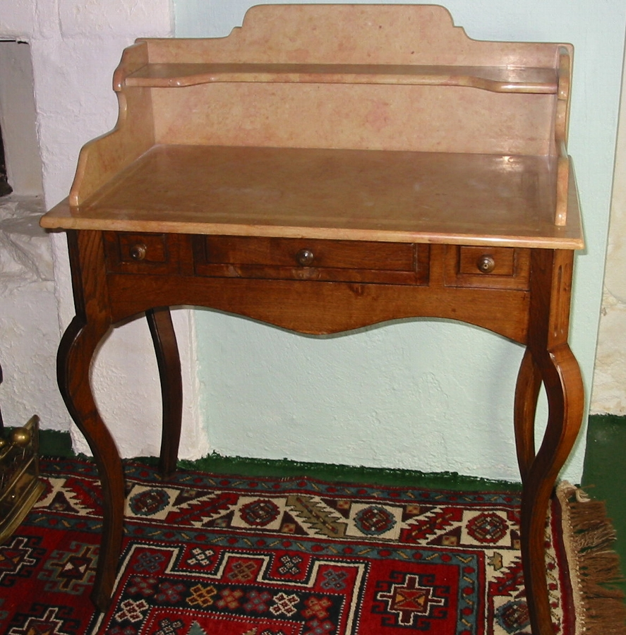 19thC French Oak Cabriole Leg Side Table. Washstand.