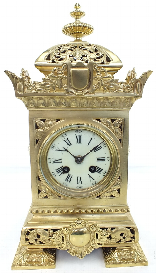 Excellent Cubed Bronze Ormolu Mantel Clock - Original Antique Clocks