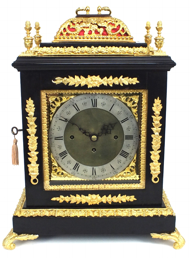 19THC Ebony Musical Triple Fusee 8 Bell Bracket Clock - Original Antique Clocks