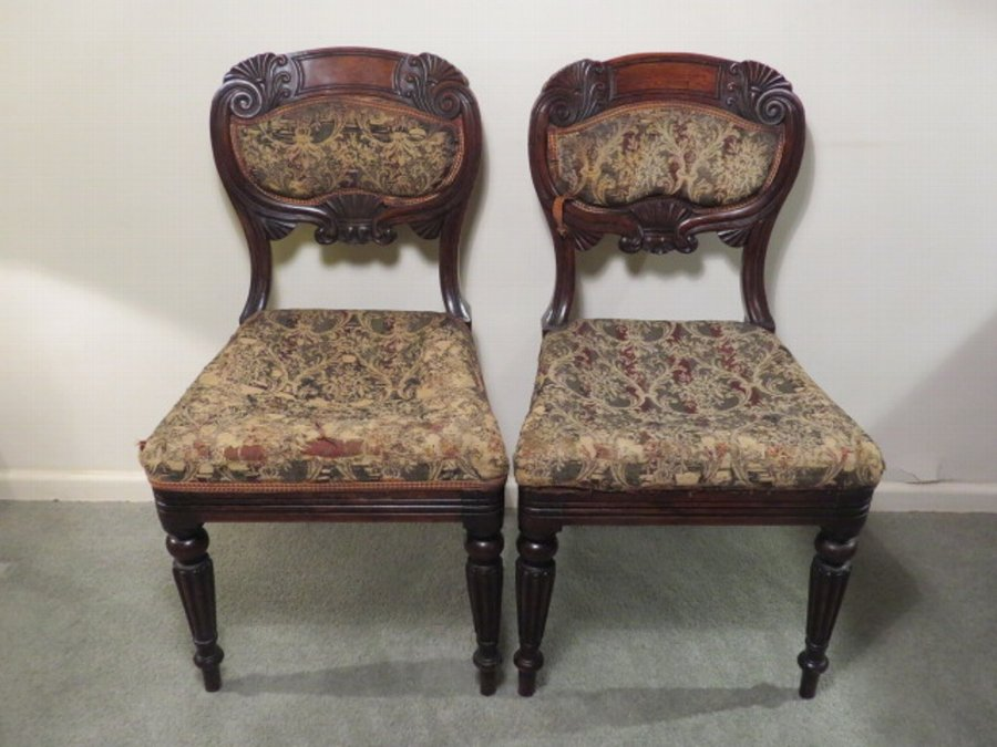 Antique Pair of c19th Carved Mahogany Side Chairs