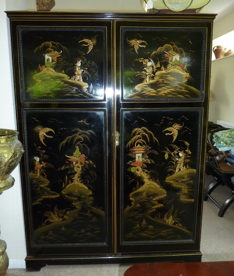 Antique Black Ebonised Chinoiserie Compactum Wardrobe