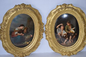 Antique PAIR OF ANTIQUE KPM BERLIN PLAQUES OF THE FRUIT-SELLER AND THE GRAPE AND MELON EATER