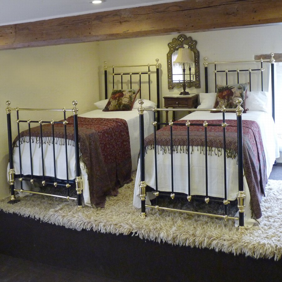 Antique Stunning Matching Pair or Twin Brass and Iron Beds - MPS10
