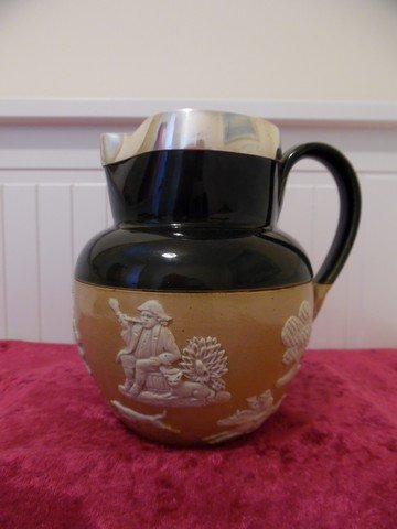 Royal Doulton Stoneware Salt Glaze (Green) Hunt Scene Jug with Silver Rim