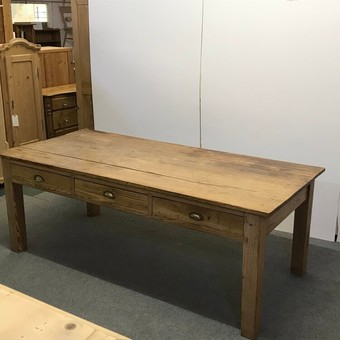 Antique LARGE OLD RUSTIC ENGLISH PINE FARMHOUSE TABLE