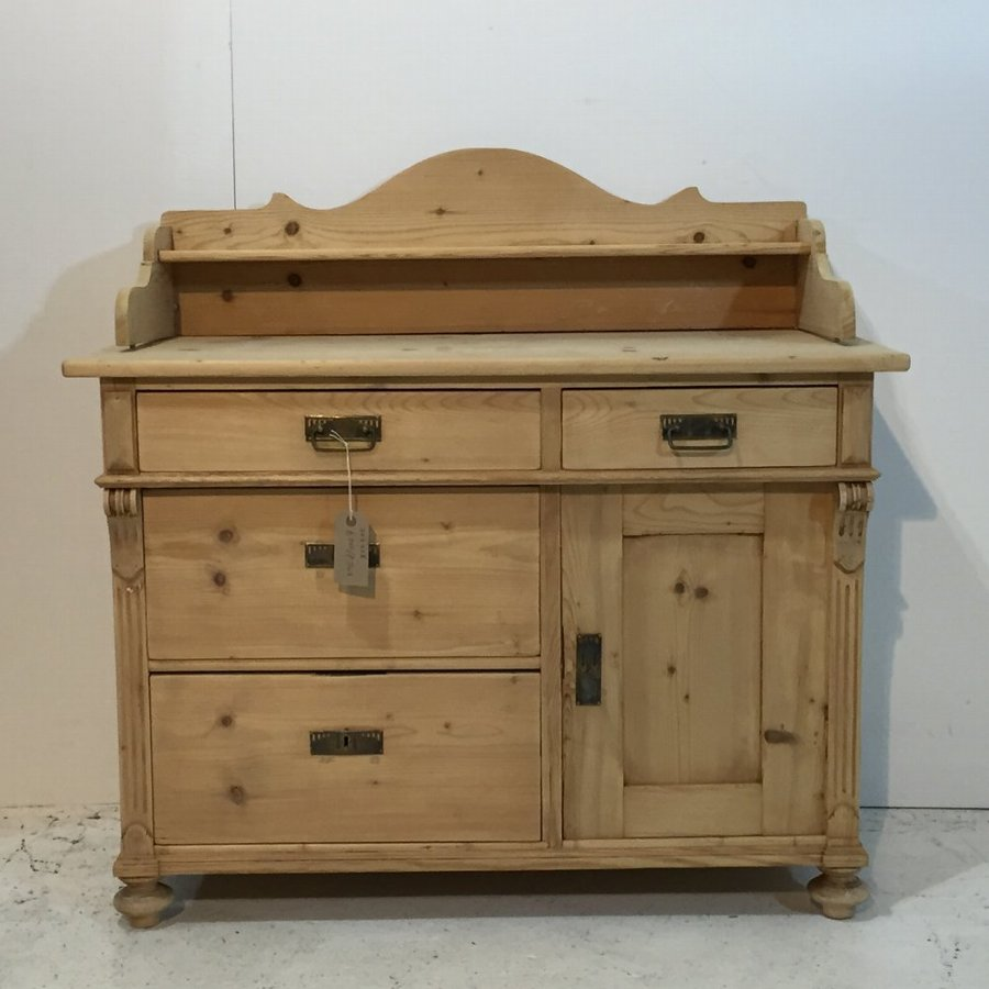 Attractive Antique Pine Cupboard with Gallery Up-Stand