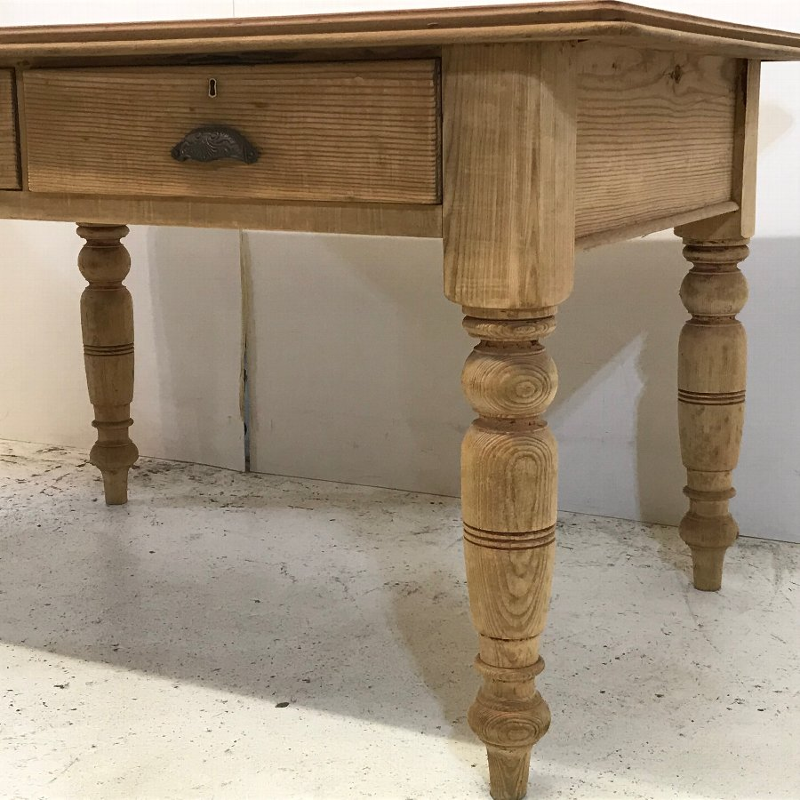 Antique Old English Pine Country Kitchen Table