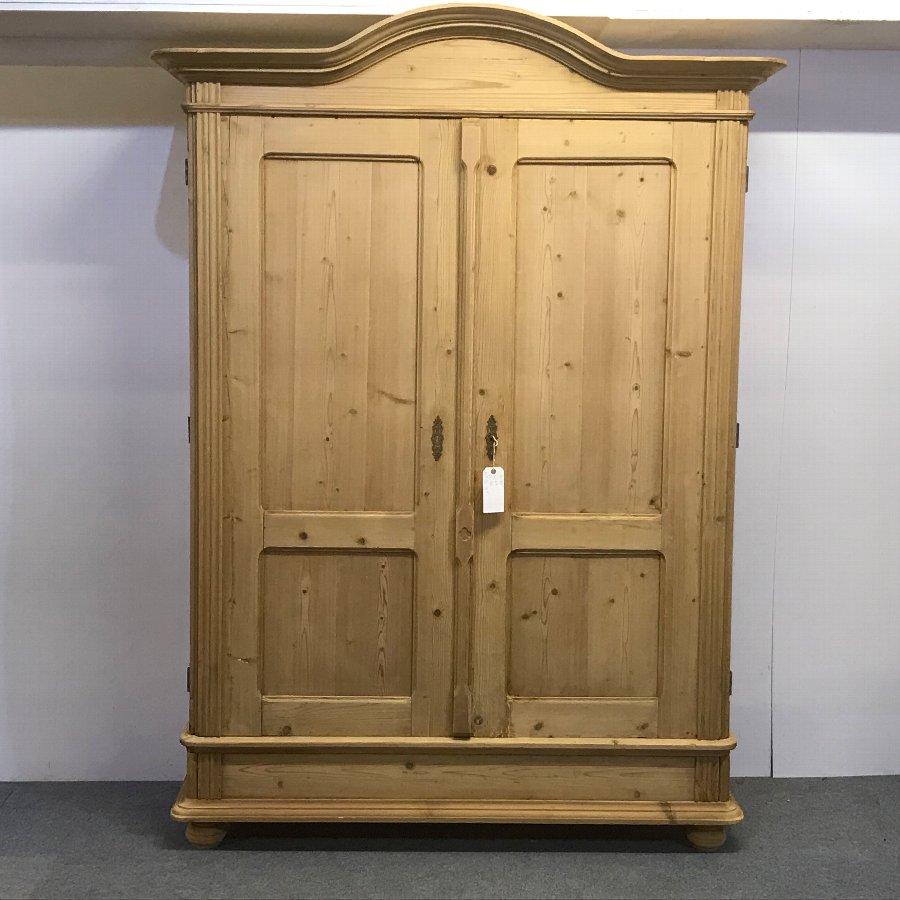 TALL ANTIQUE DOUBLE WARDROBE WITH ARCHED TOP (DISMANTLES)
