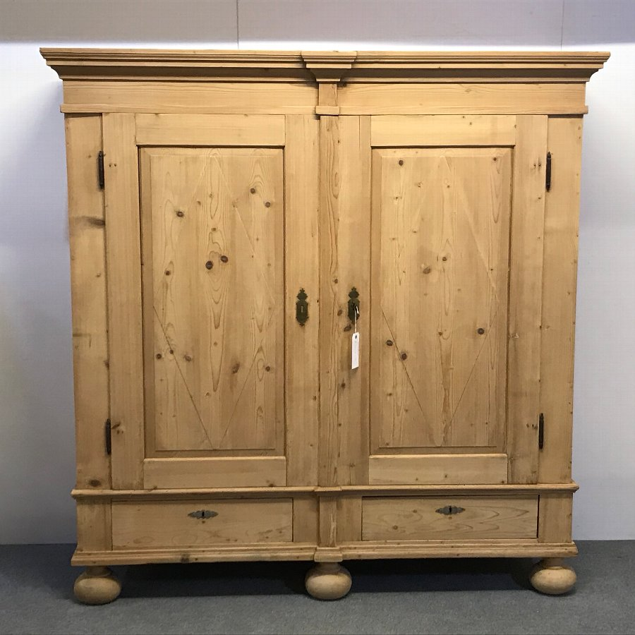 VERY LARGE ANTIQUE PINE TWO DOOR WARDROBE