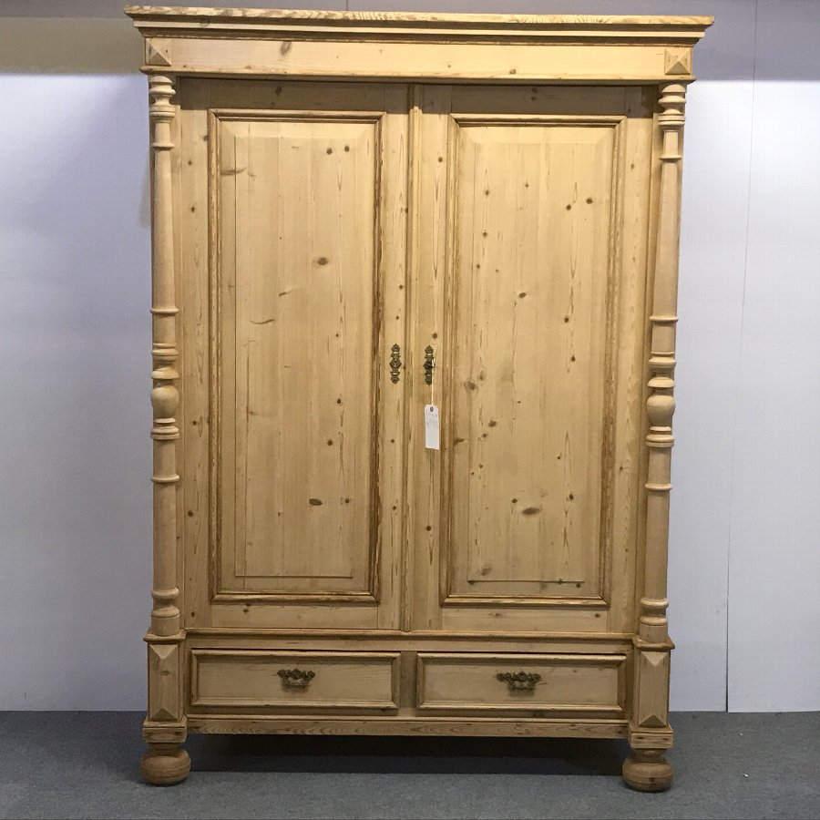 LARGE 19TH CENTURY DOUBLE PINE WARDROBE (DISMANTLES)
