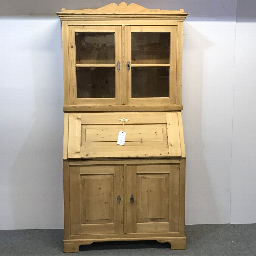 ANTIQUE PINE BUREAU BOOKCASE