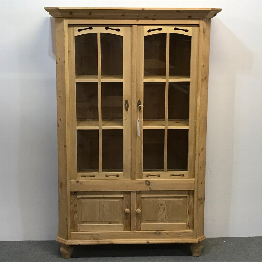 ANTIQUE PINE GLAZED DISPLAY CABINET