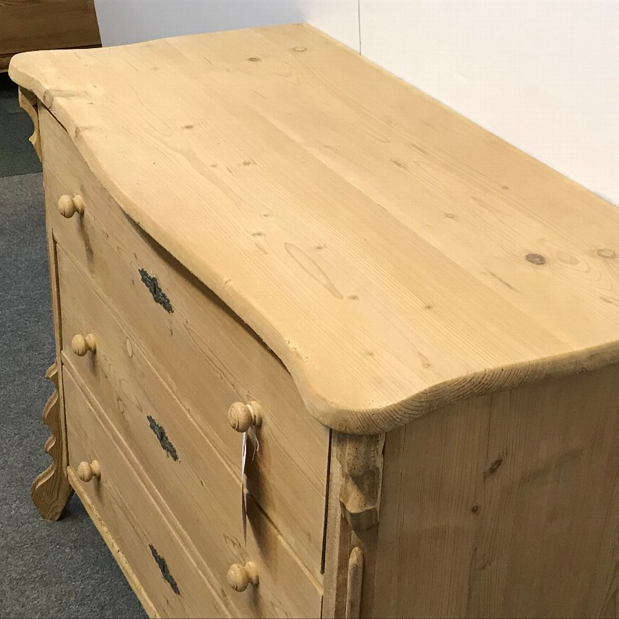 Antique ANTIQUE PINE CHEST OF DRAWERS WITH SHAPED TOP
