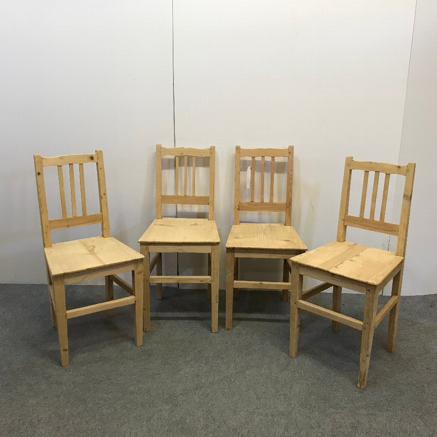 SET OF 4 OLD PINE FARMHOUSE CHAIRS