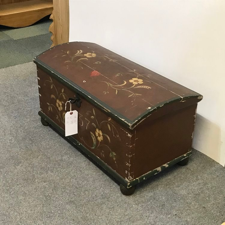 Antique SMALL OLD SWEDISH PINE CHEST TRUNK