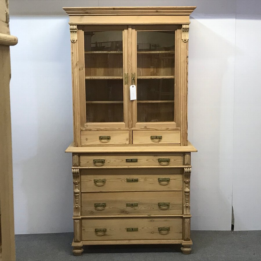 ANTIQUE PINE DISPLAY CABINET WITH DRAWERS