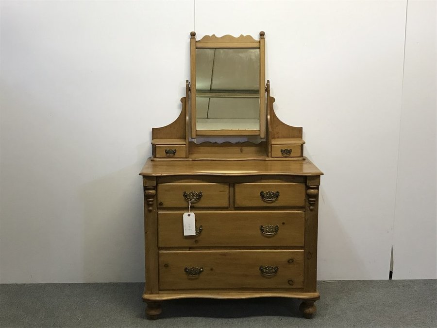 EXCELLENT EXAMPLE OF EDWARDIAN ENGLISH PINE DRESSING CHEST