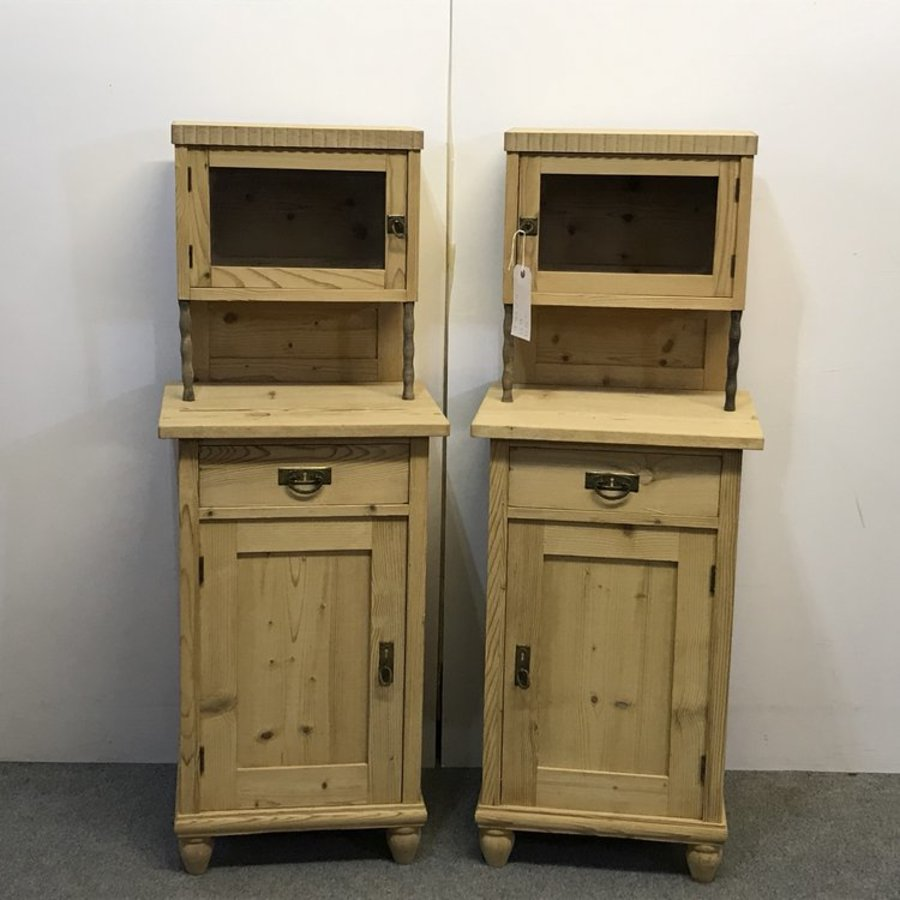 PAIR OF ANTIQUE BEDSIDE CUPBOARDS WITH GLAZED CUBBYHOLES