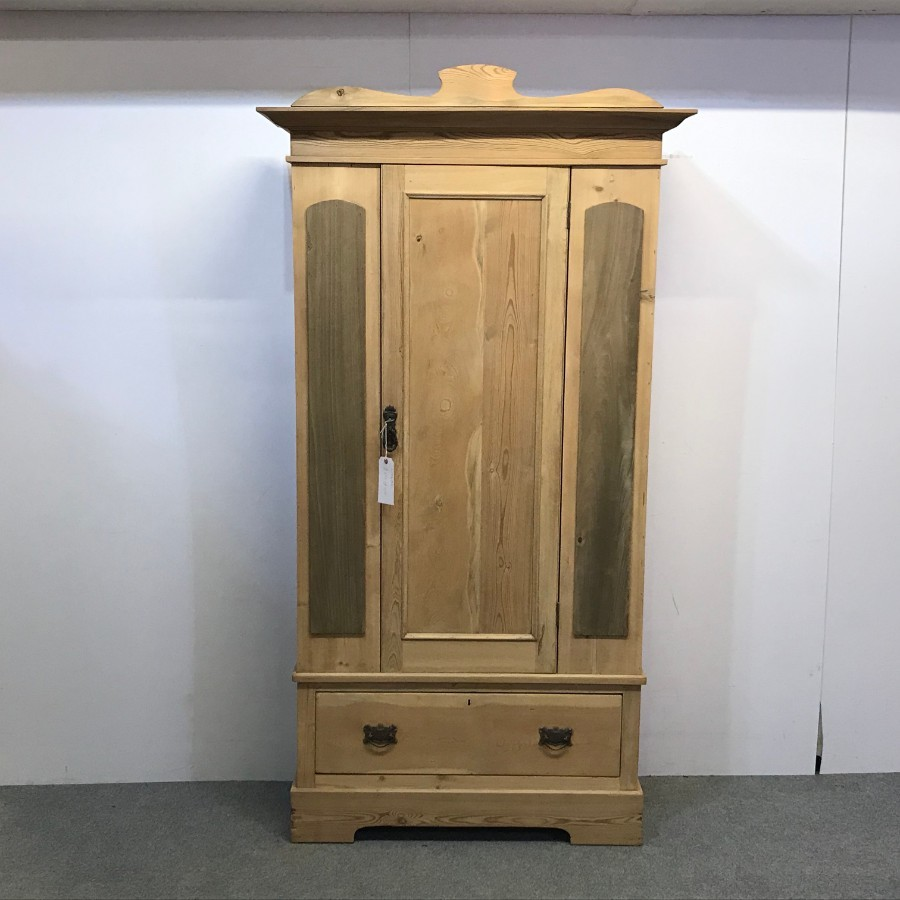 SMALL EDWARDIAN ENGLISH PINE ARMOIRE