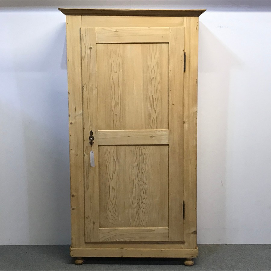 LARGE SINGLE DOOR OLD PINE CUPBOARD