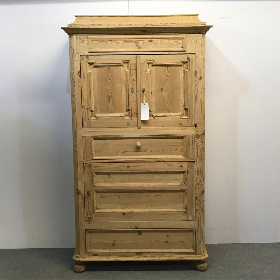 ANTIQUE DANISH PINE BACHELORS CABINET