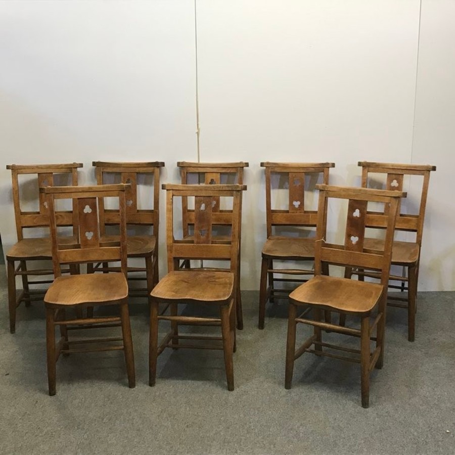 SET OF 8 OLD CHAPEL CHAIRS