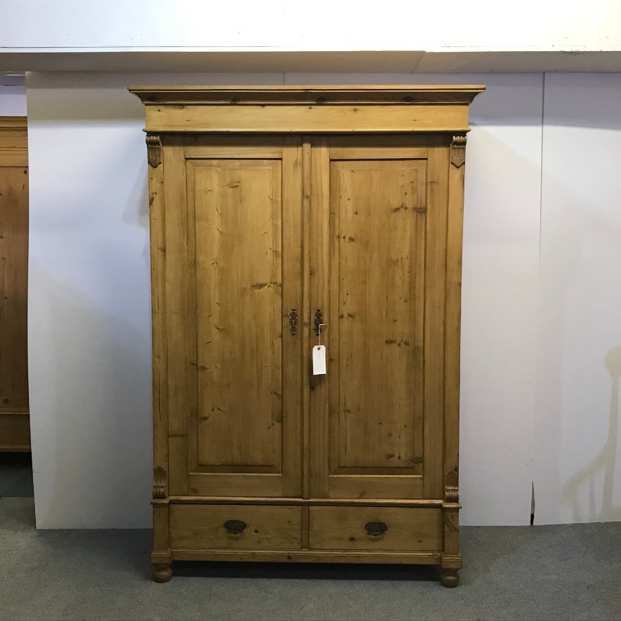 WAXED ANTIQUE PINE DOUBLE WARDROBE (DISMANTLES)