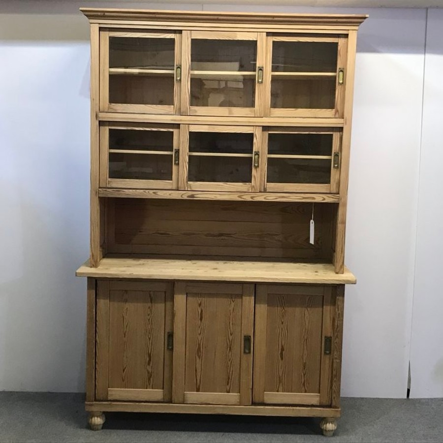 LARGE ANTIQUE PINE SHOP CABINET / DISPLAY DRESSER