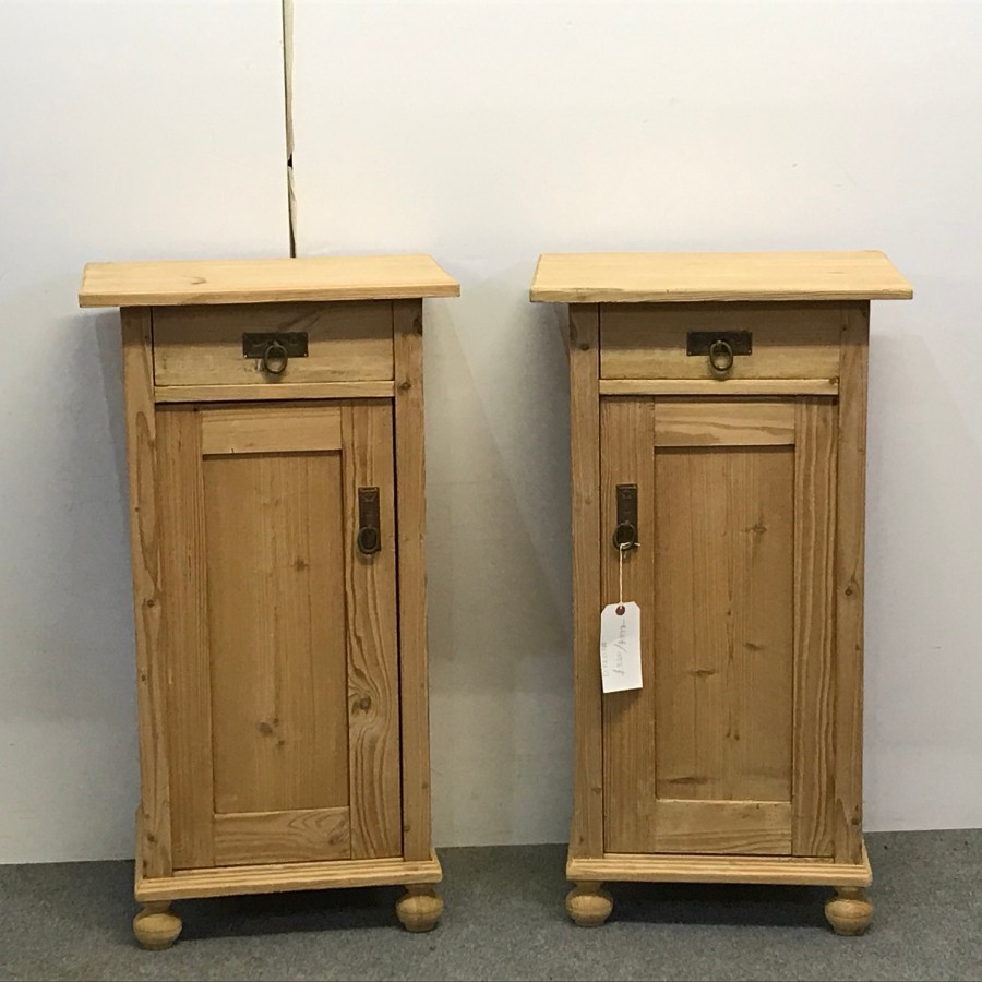 PAIR OF TALL ANTIQUE PINE BEDSIDE CUPBOARDS