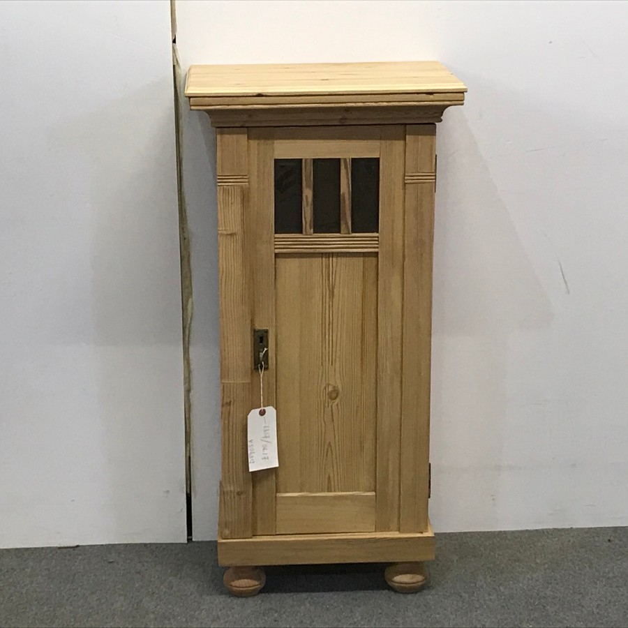 TALL PARTLY GLAZED ANTIQUE PINE BEDSIDE CABINET