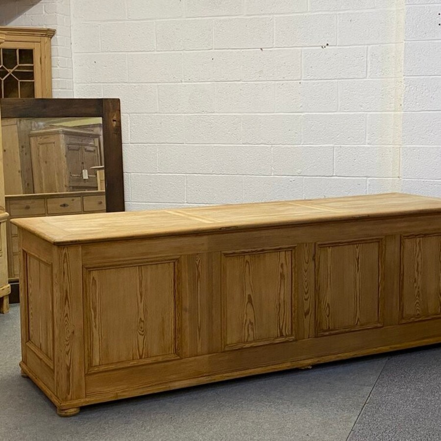 Antique VERY LARGE ANTIQUE PINE SHOP COUNTER