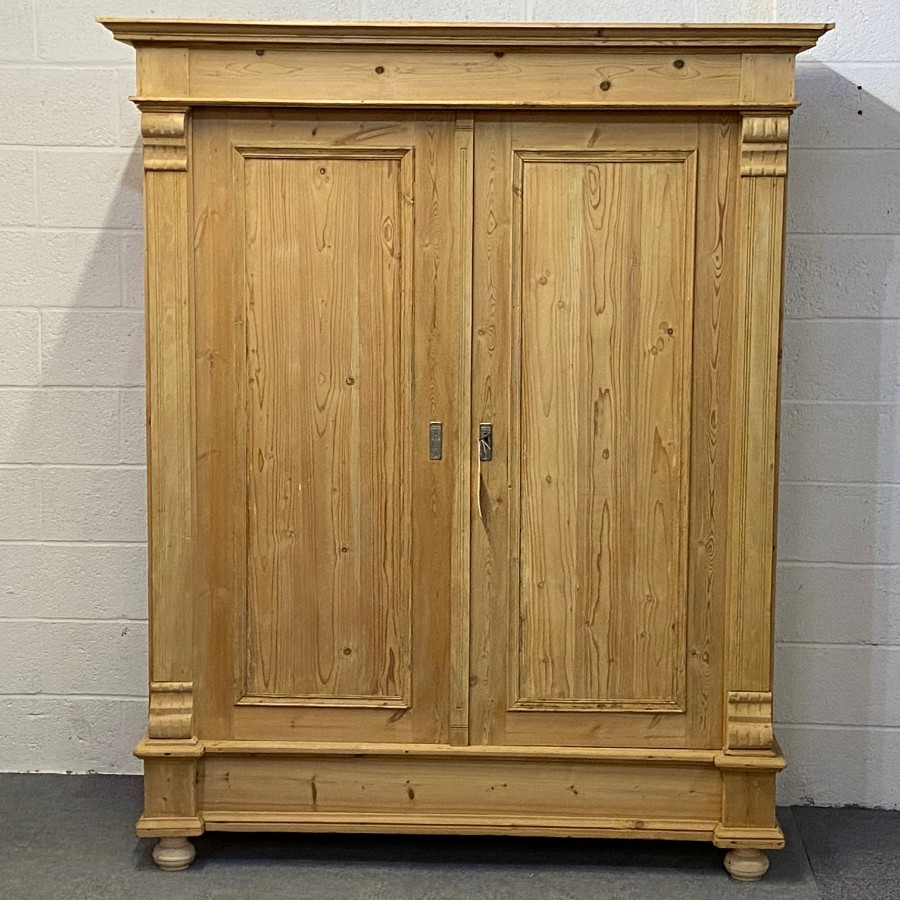 LARGE DOUBLE ANTIQUE PINE WARDROBE (DISMANTLES)