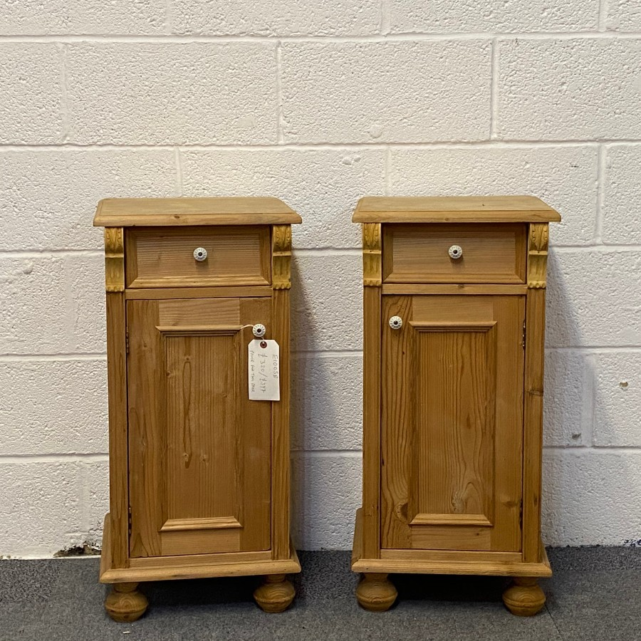 PAIR OF SMALL ANTIQUE PINE BEDSIDE CUPBOARDS