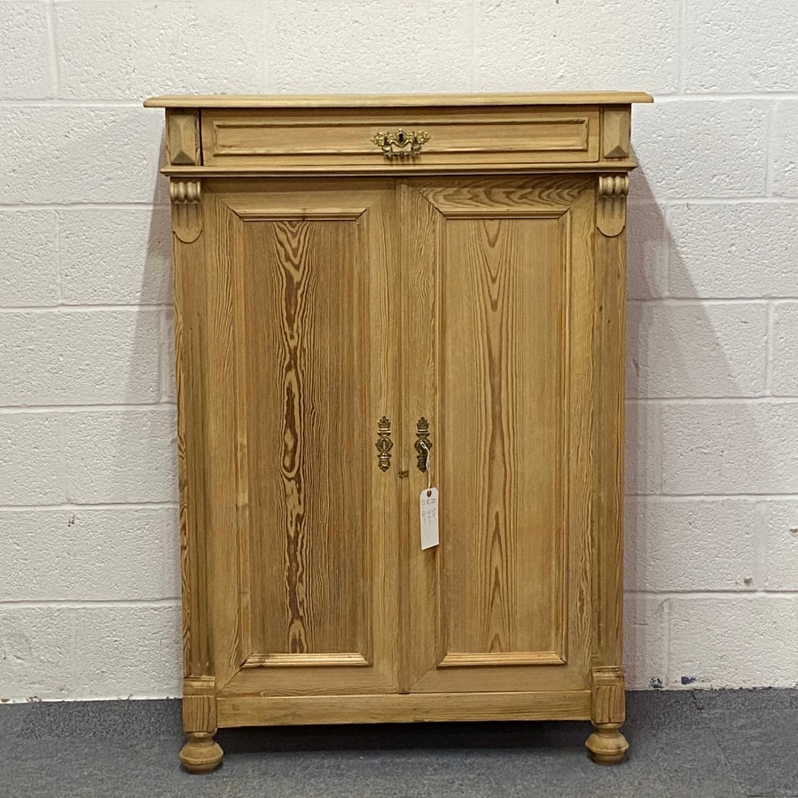 SLENDER ANTIQUE PINE CUPBOARD WITH MEDICINE DRAWER