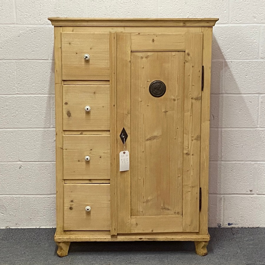 OLD PINE LARDER CUPBOARD 4 DRAWERS