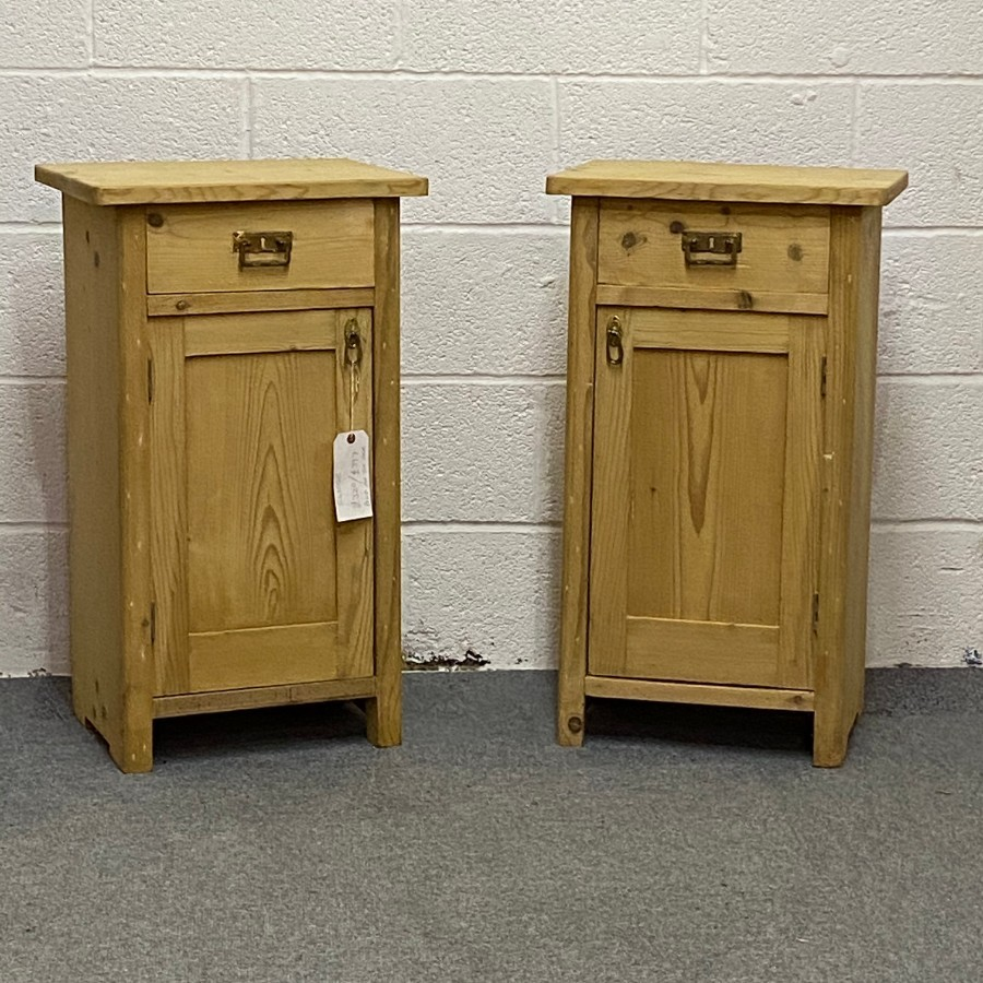 PAIR OF OLD PINE BEDSIDE POT CUPBOARDS
