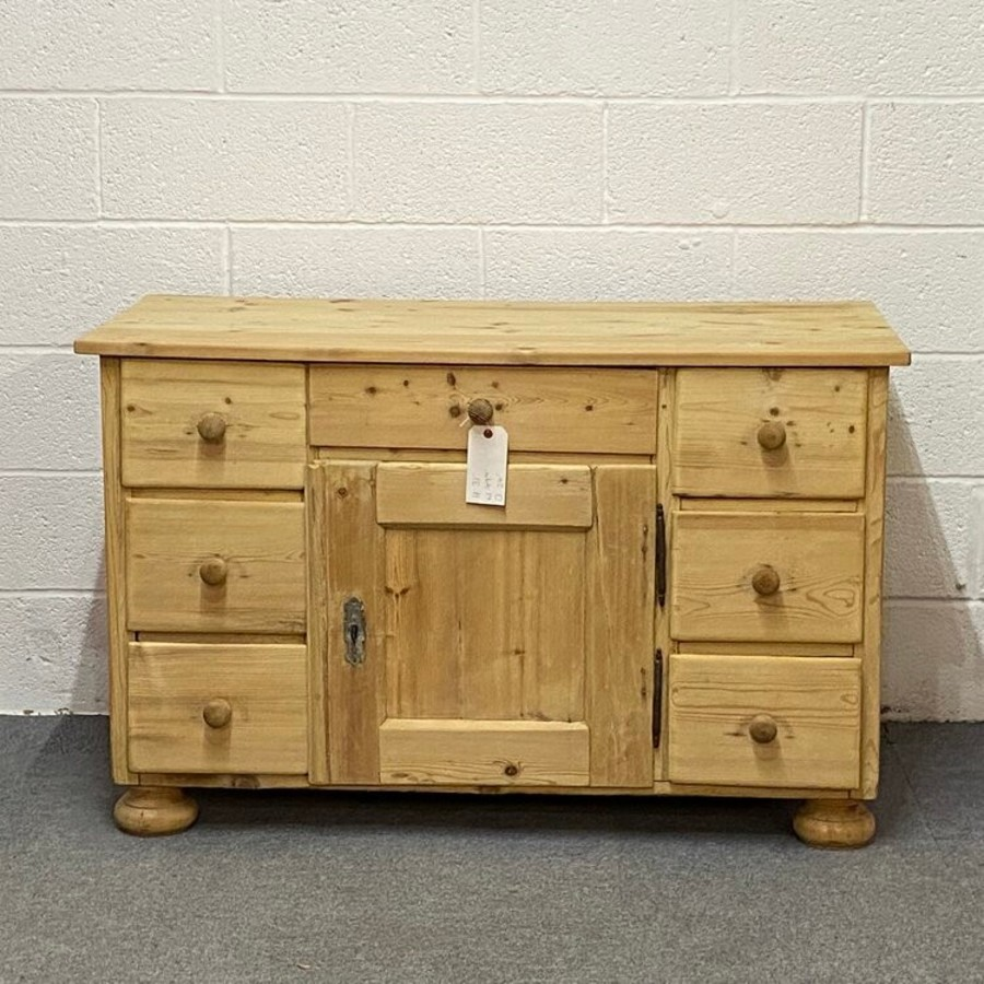 LARGE OLD PINE SIDEBOARD WITH DRAWERS C.1910