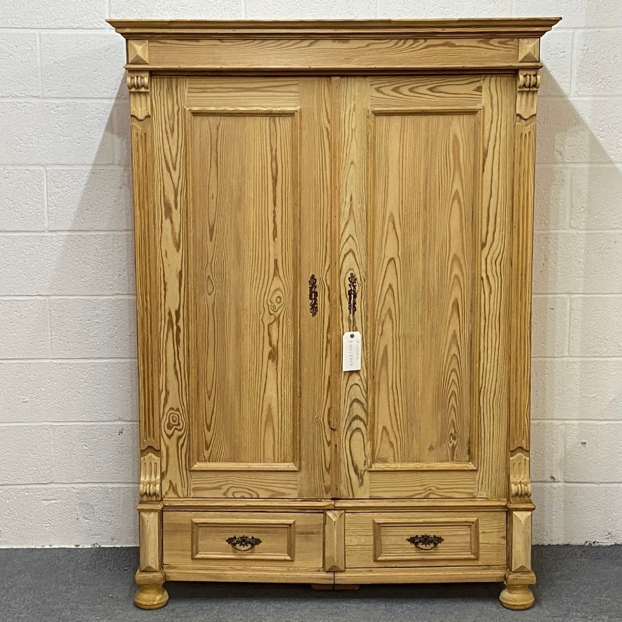 Small Antique Pine Double Wardrobe