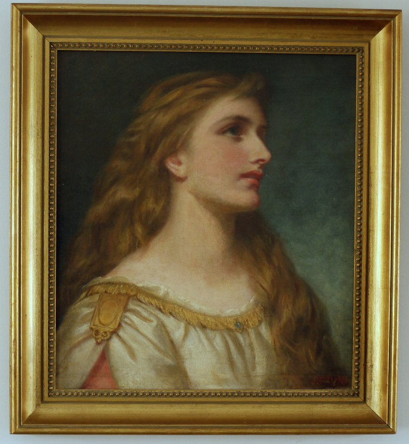 Very Fine Victorian Pre-Raphaelite Oil on Canvas Portrait of a Young Lady by William Salter Herri...